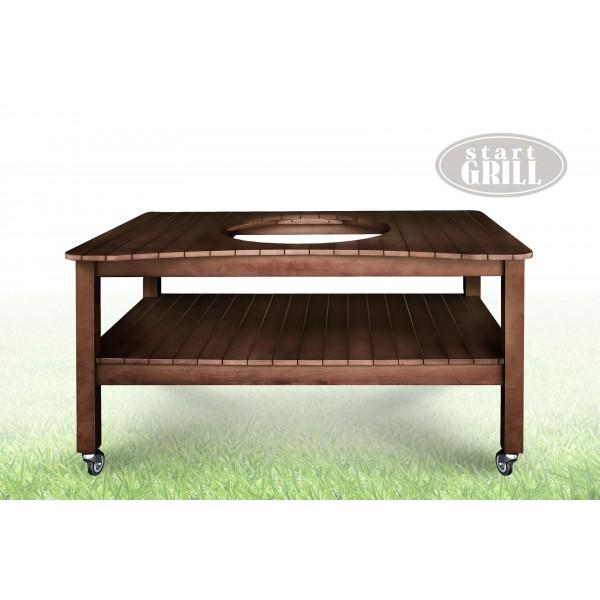 Стол для керамического гриля коричневый